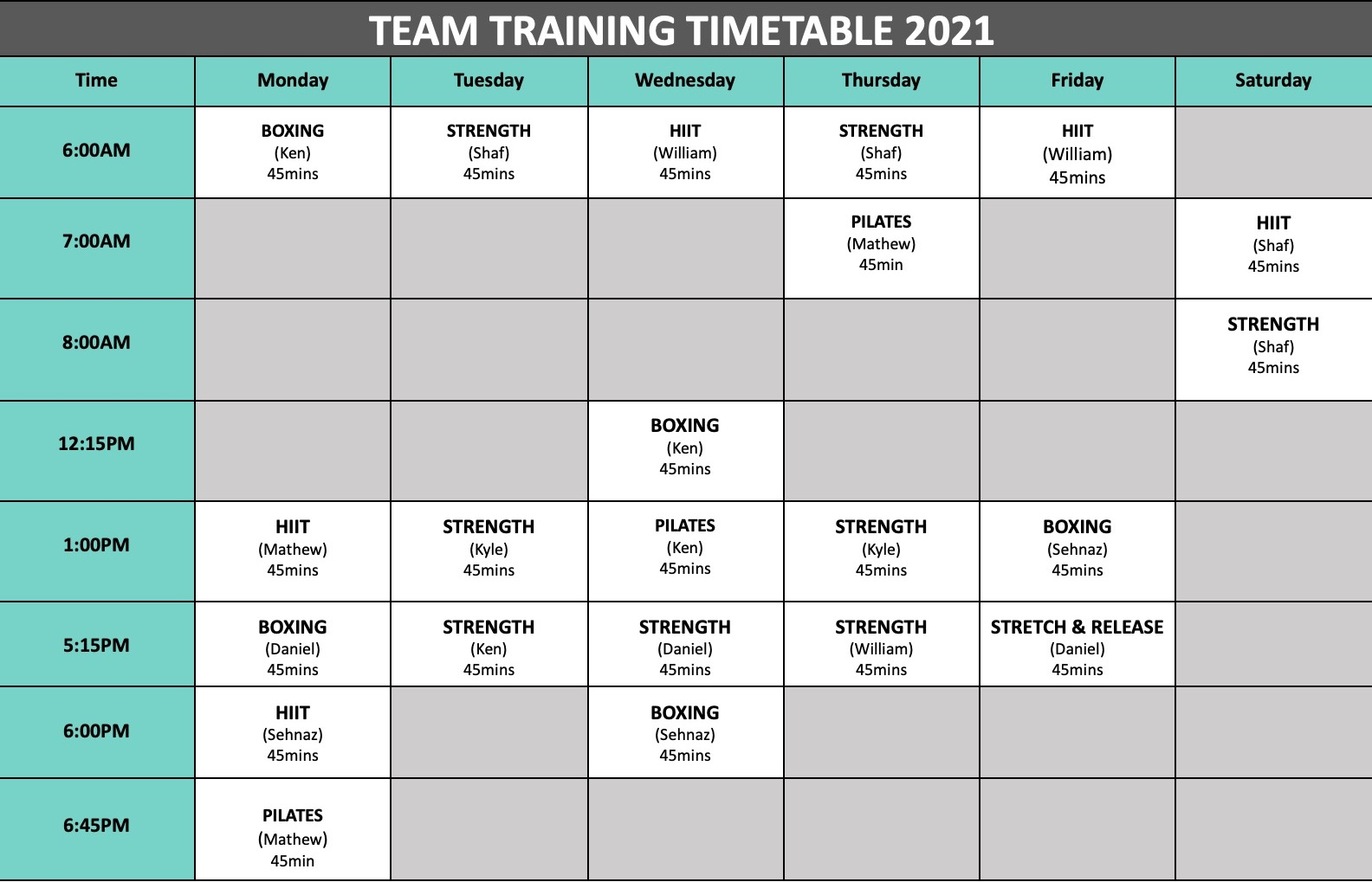 Team Training Timetable March 2021